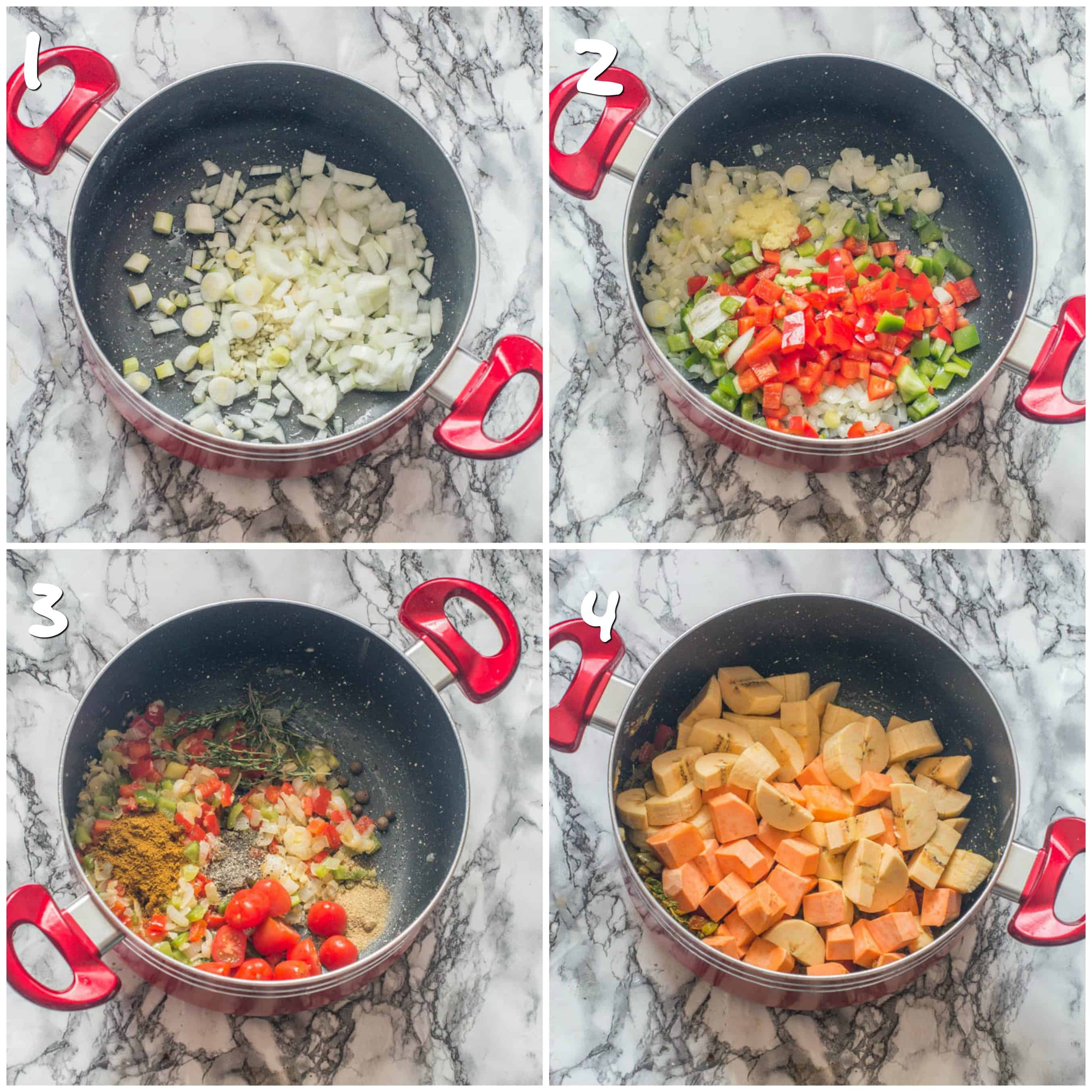 Sauteing vegetables in a pot