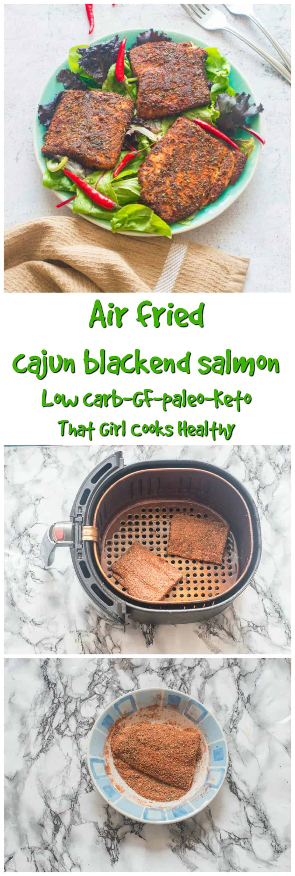 Make this simple air fried cajun blackened salmon recipe in less than 20 minutes
