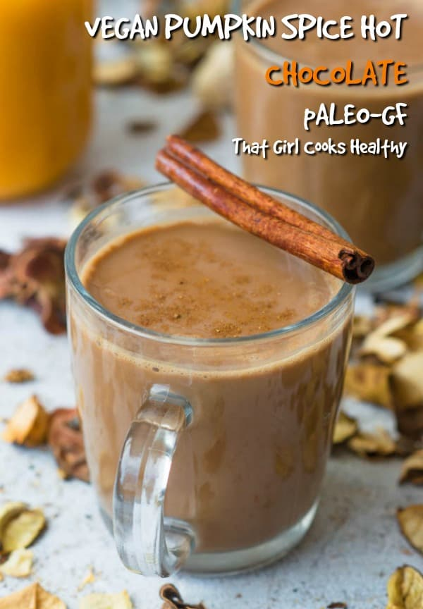 This delicious vegan style pumpkin spice hot chocolate is perfect for the fall