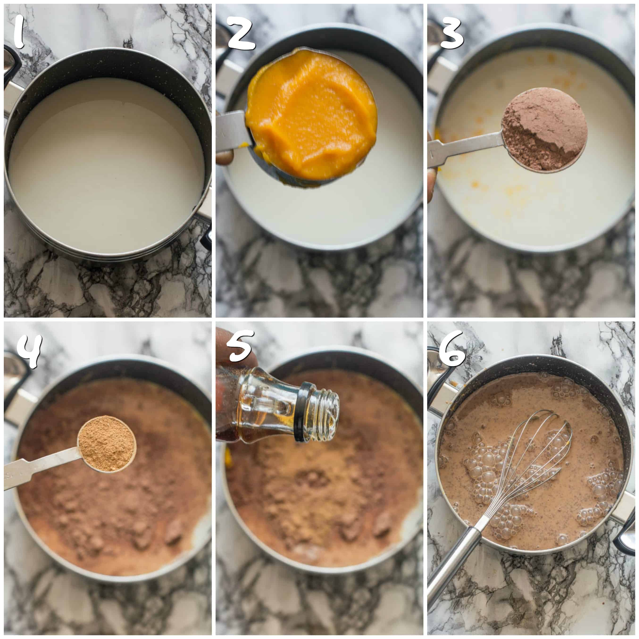 Steps 1-6 whisking milk into chocolate mix