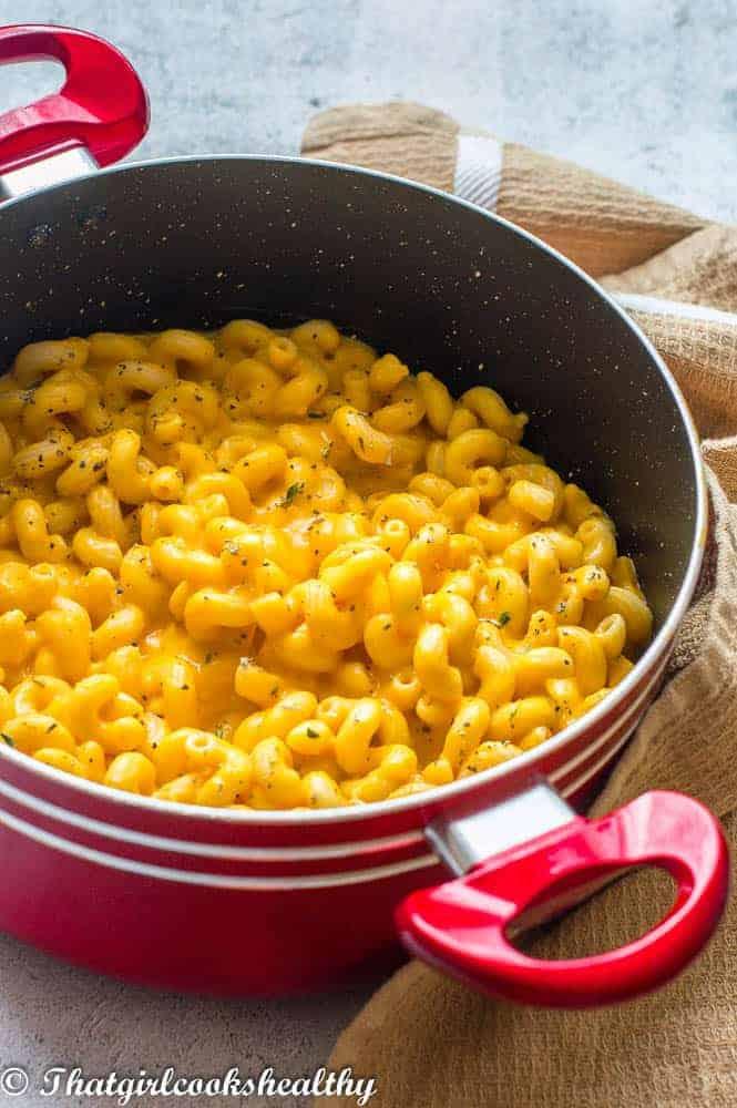 Yellow macaroni in a pot