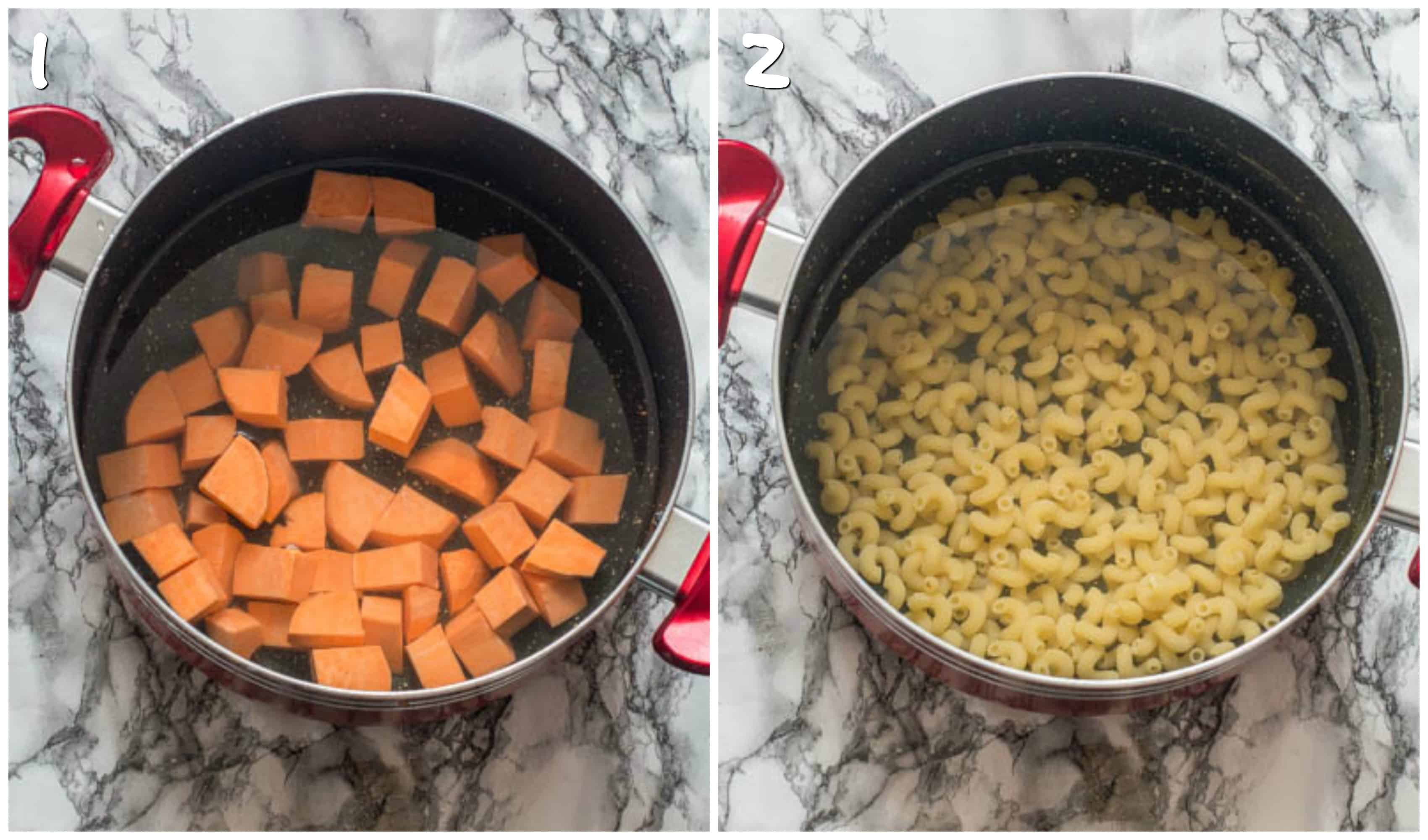 steps 1-2 boiling sweet potato and macaroni