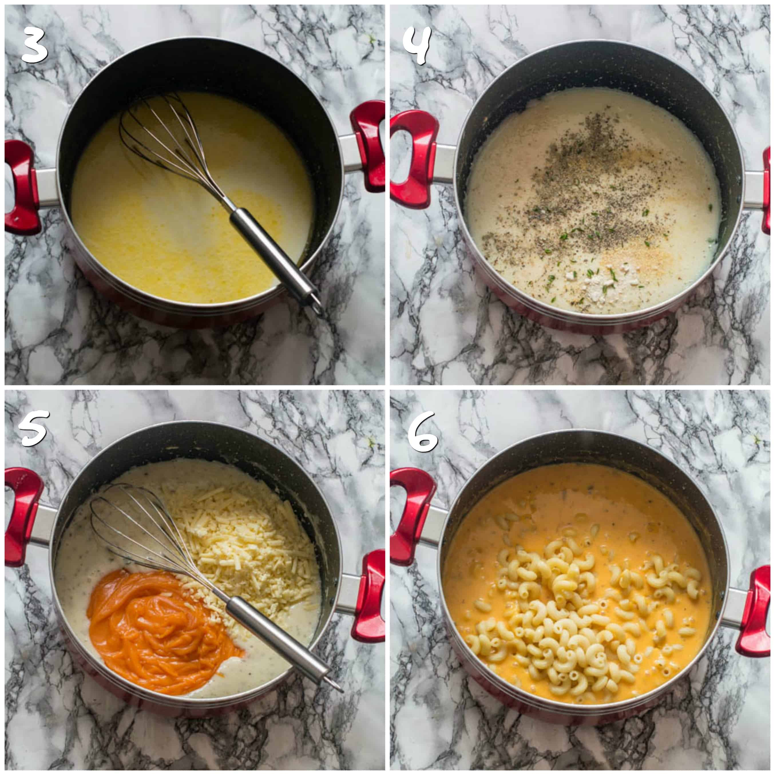steps 3-6 mixing sweet potato cheese and mac