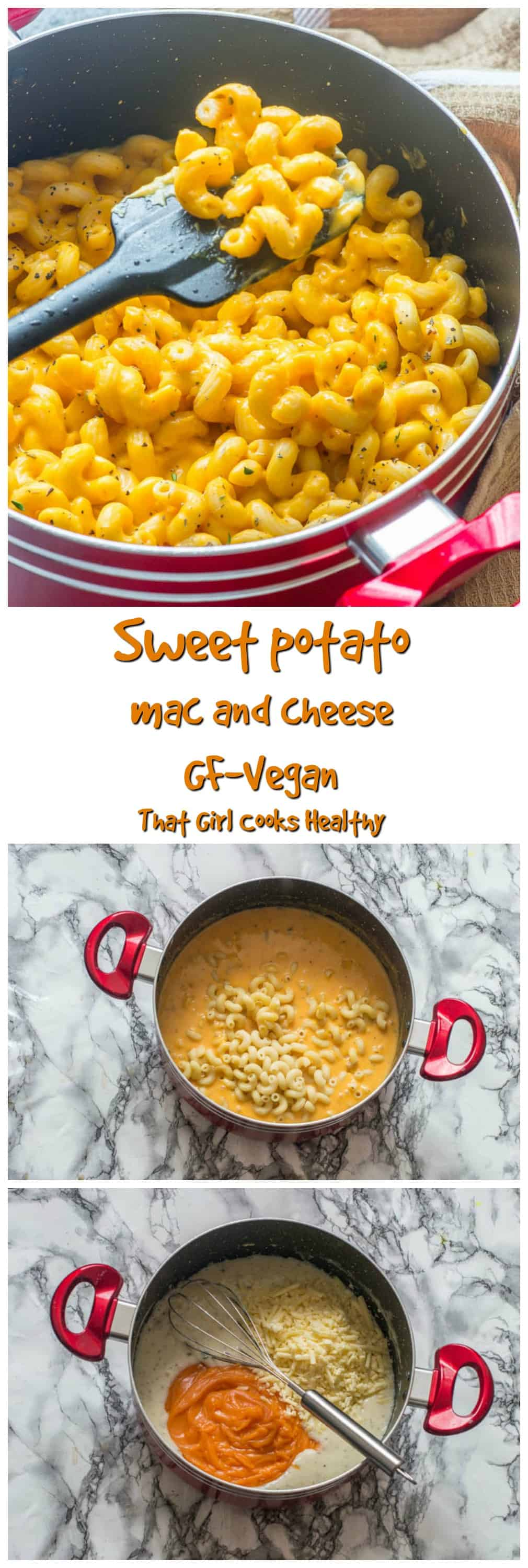 Delicious, time saving sweet potato mac and cheese that's gluten free and vegan friendly