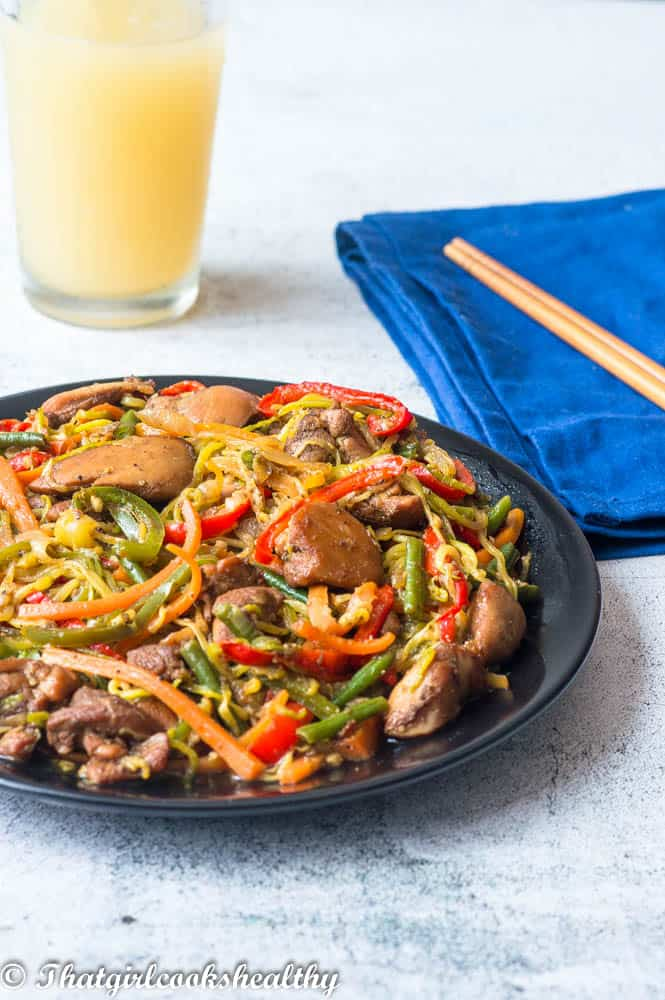 Chow mein with apple juice