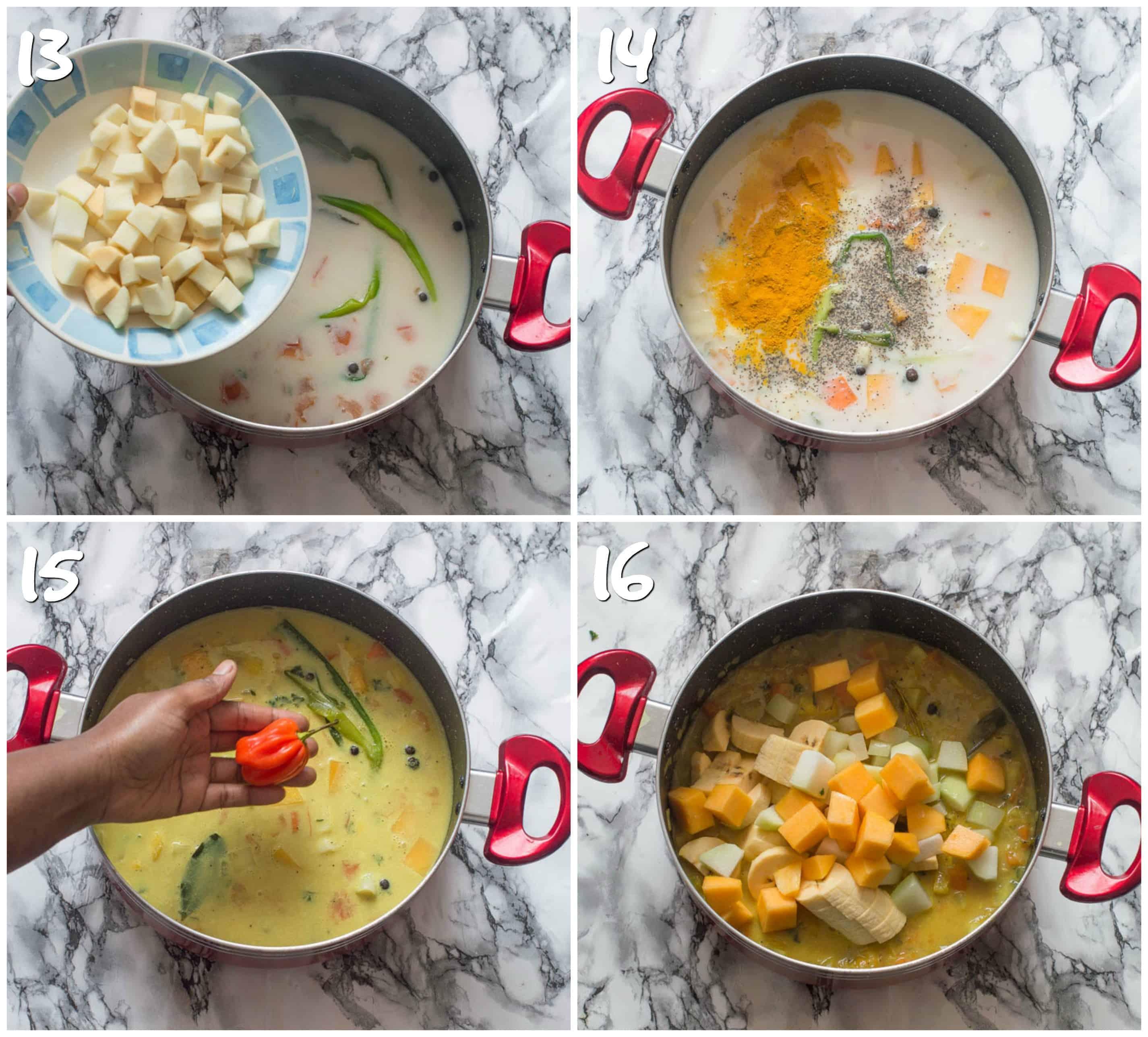 Steps 13-16 adding root veggies to saucepan