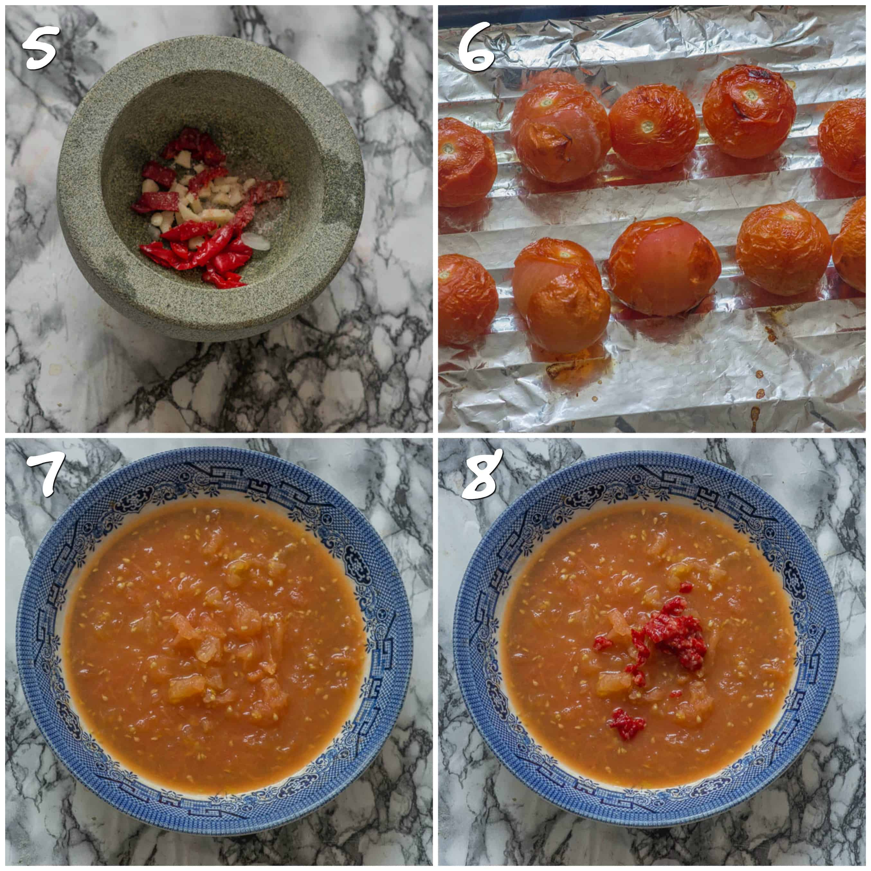 Steps 5-8 mashing the tomatoes