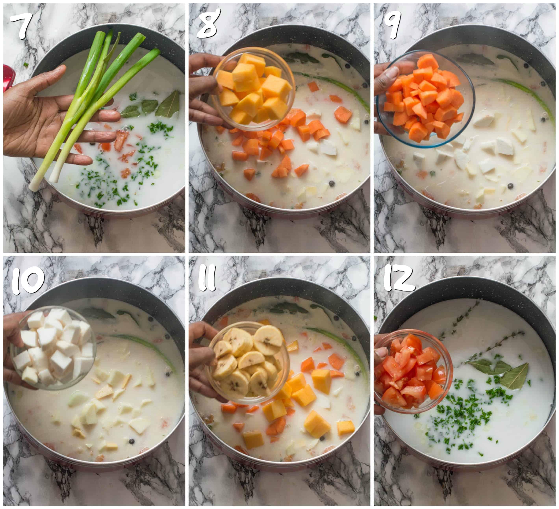 Steps 7-12 adding veggies to coconut milk