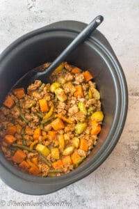 Vegetables and meat in the slow cooker