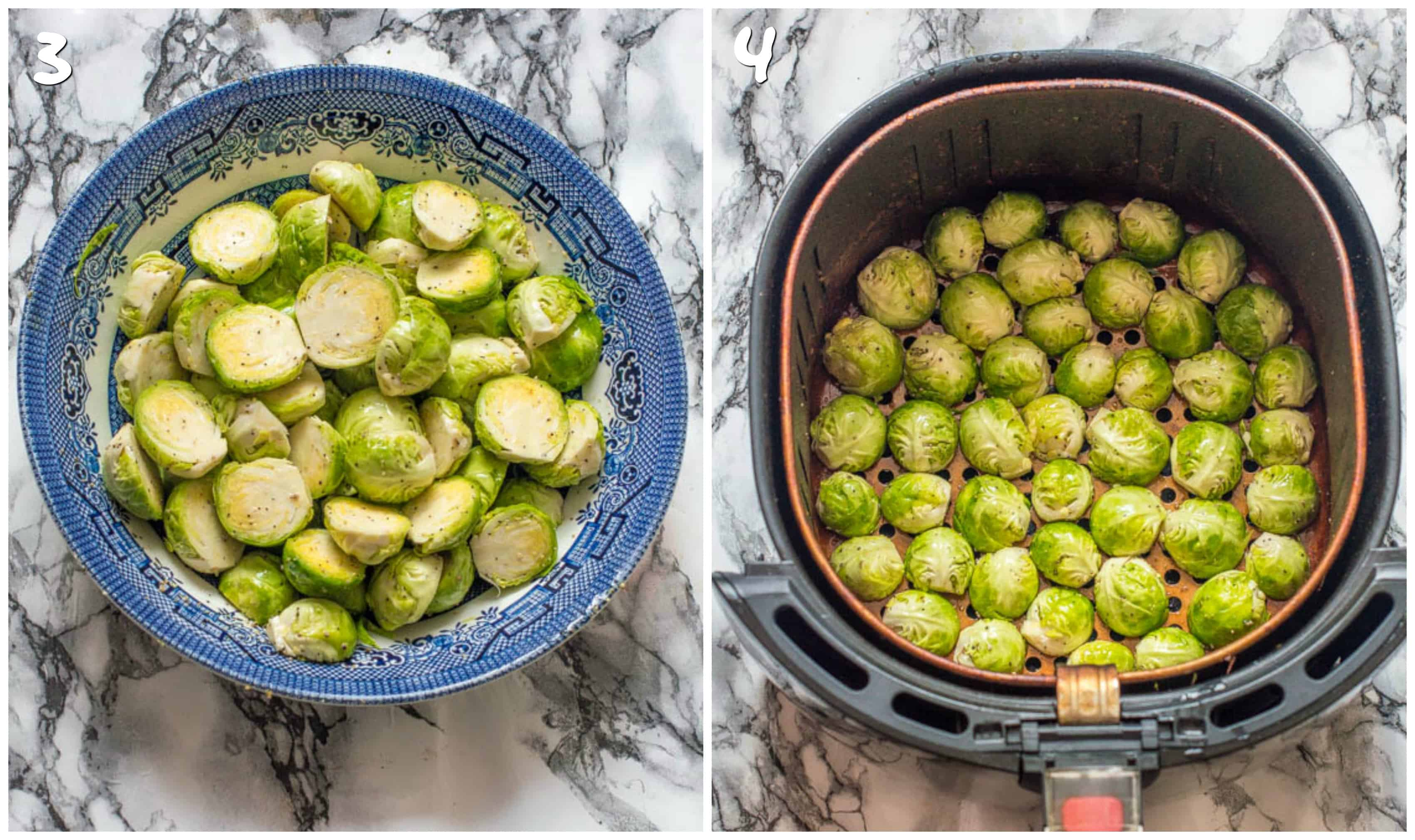 Steps 3-4 seasoning and air frying sprouts