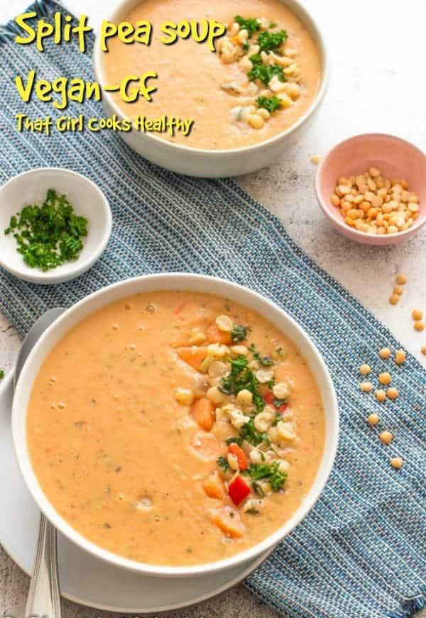 Vegan split pea soup is the ultimate dairy free winter warming soup