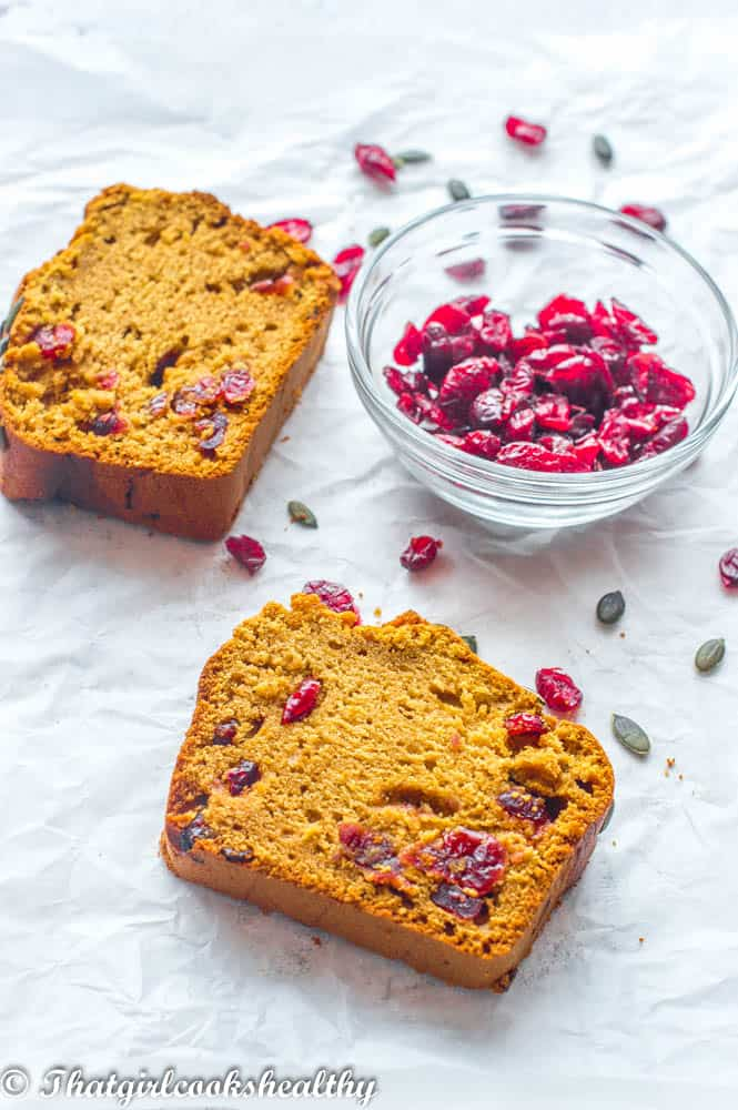 two slices of bread with cranberries