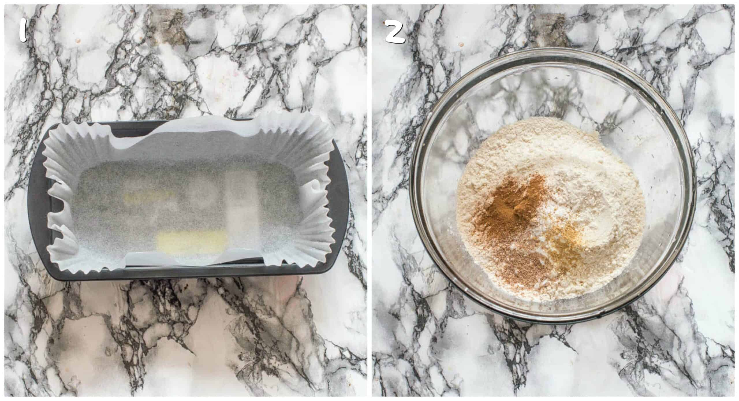 Steps 1-2 loaf pan with dry ingredients