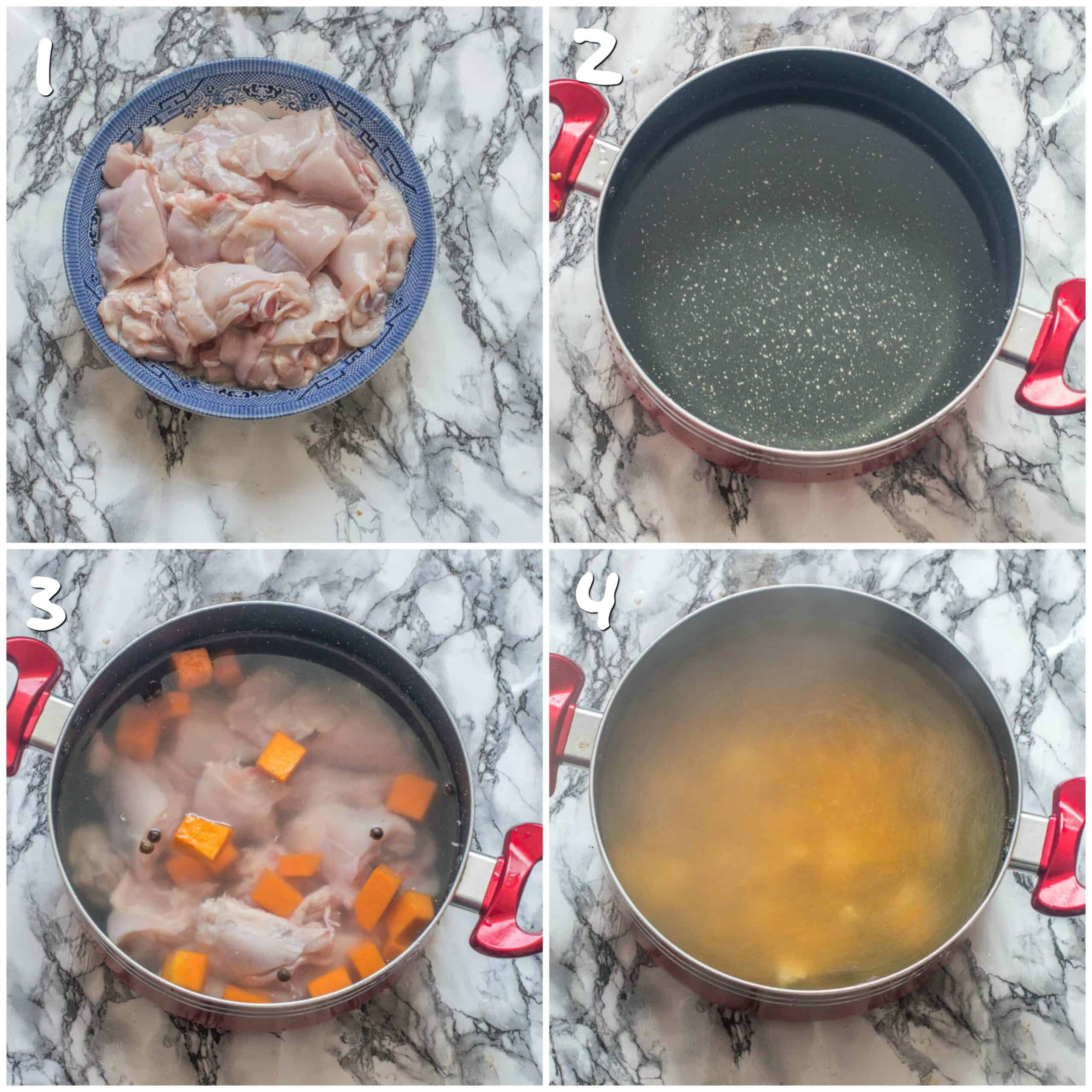 Steps 1-4 boiling water and adding ch