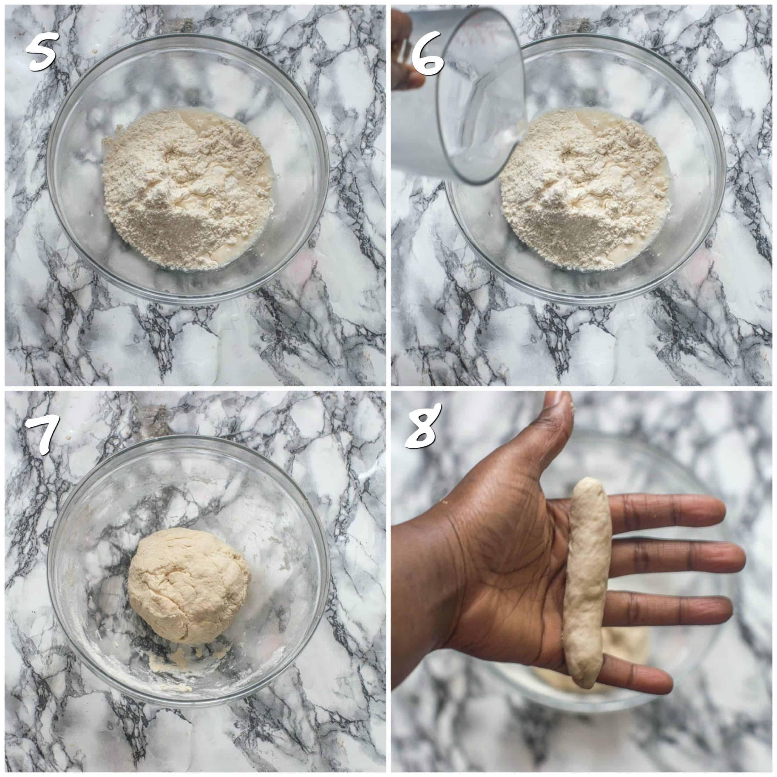 Steps 5-8 making the dumpling