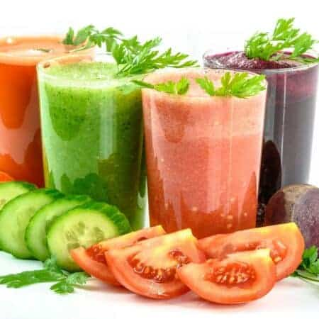 4 glasses of vegetable juices