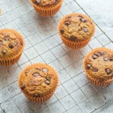 4 muffins on a cooling rack