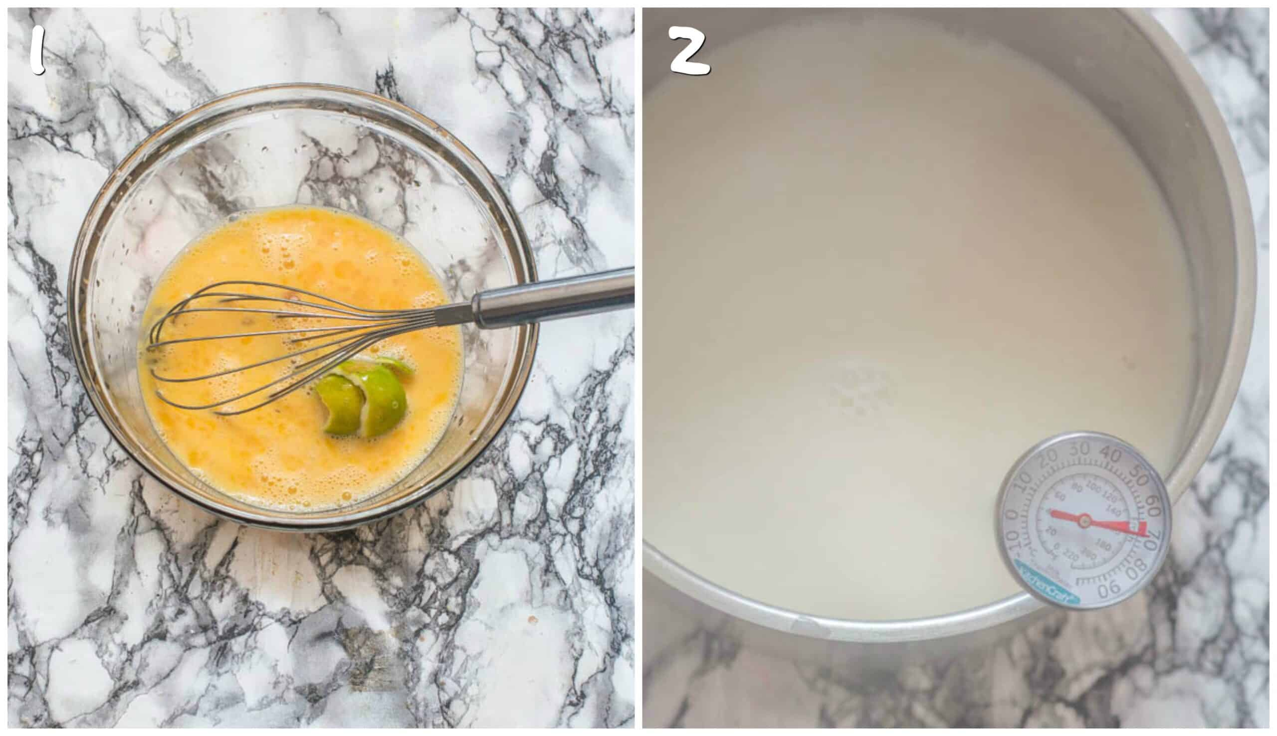 steps 1-2 whisking eggs and heating the almond milk
