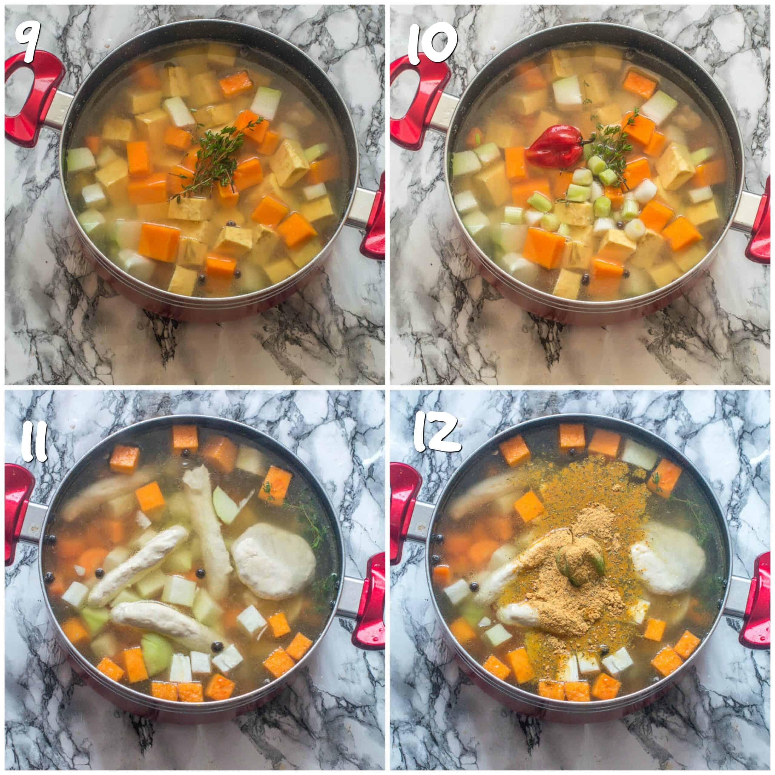 steps 9-12 adding vegetables, dumpling and cock mix