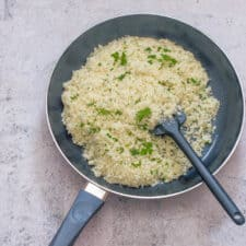 Cauliflower rice in a frying pan