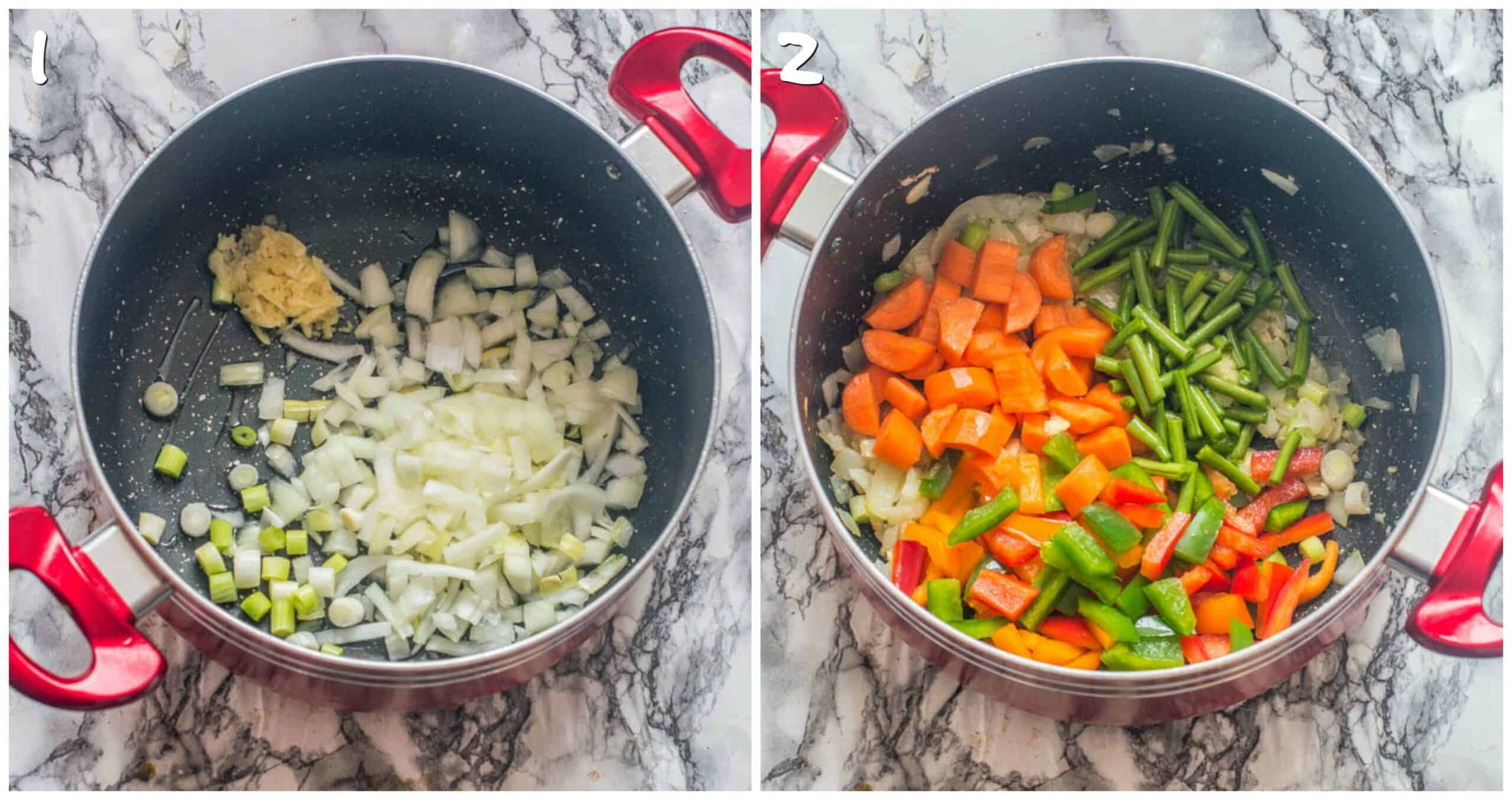 Steps 1-2 saute onion, garlic, scallion and vegetables