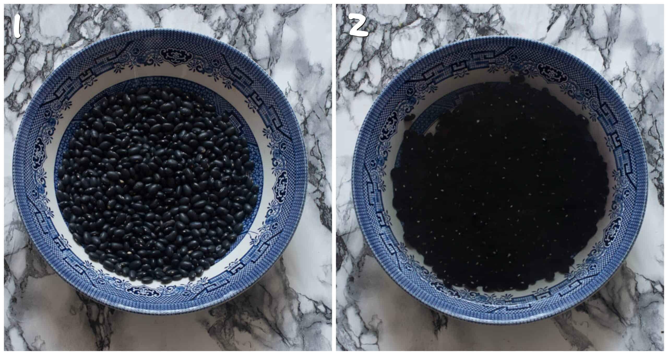 Steps 1-2 soaking black beans