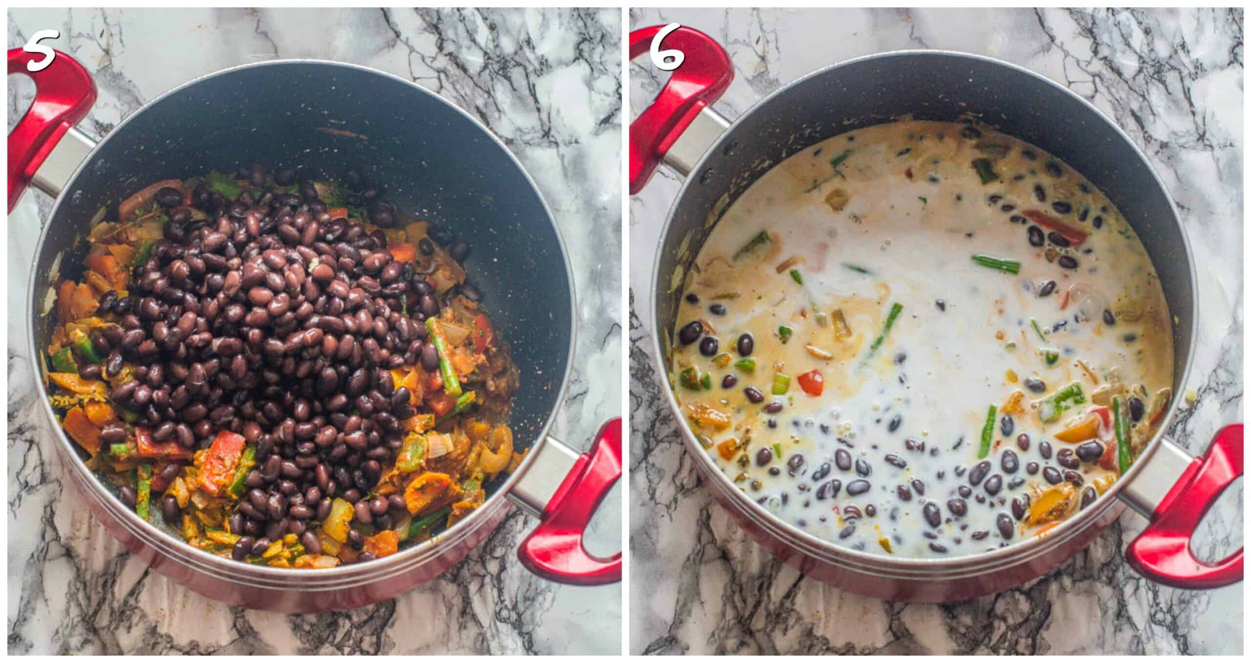 Steps 5-6 beans and coconut milk