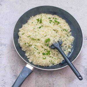 rice in a black skillet