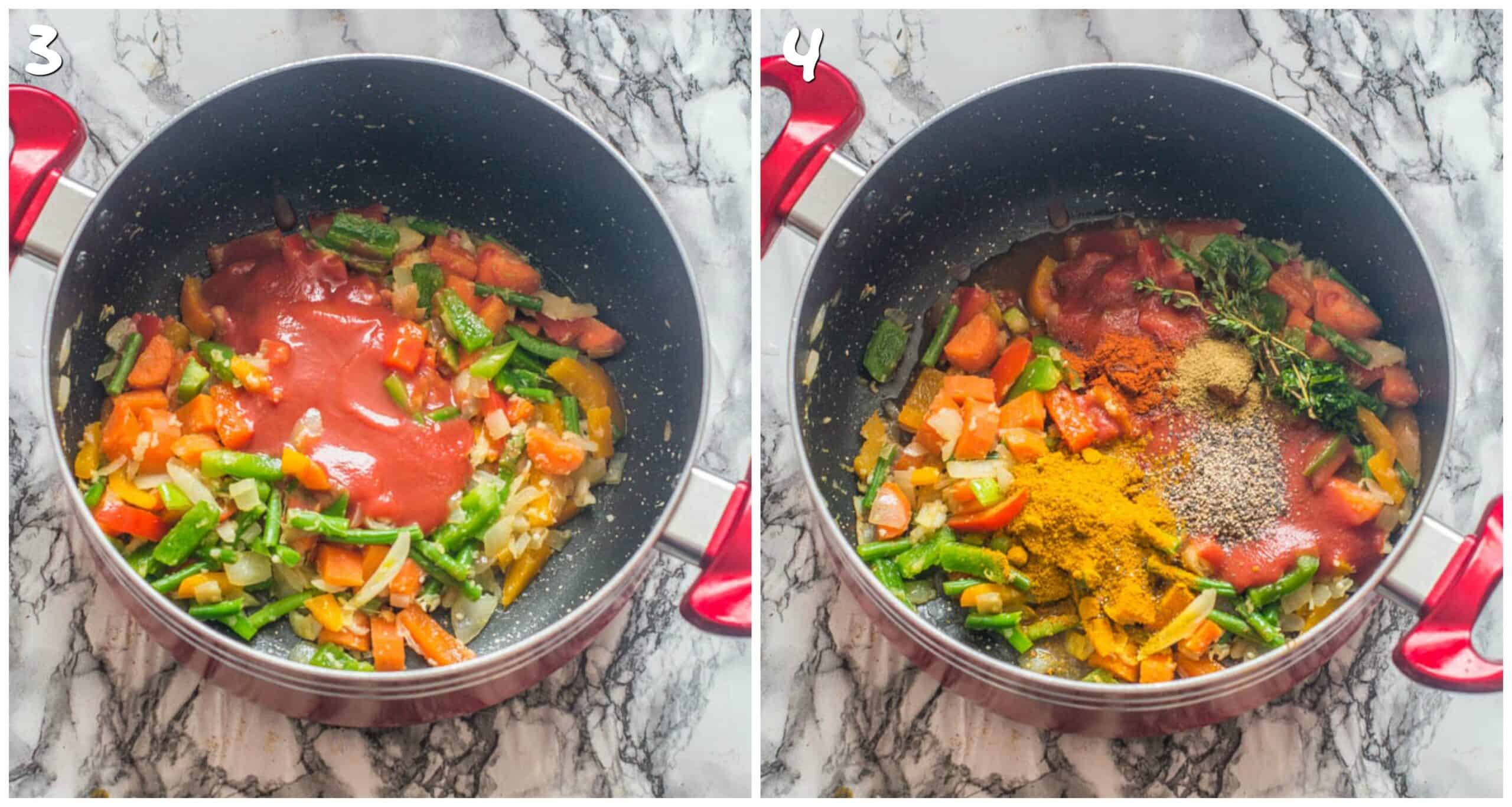 steps 3-4 adding tomatoes and spices with thyme