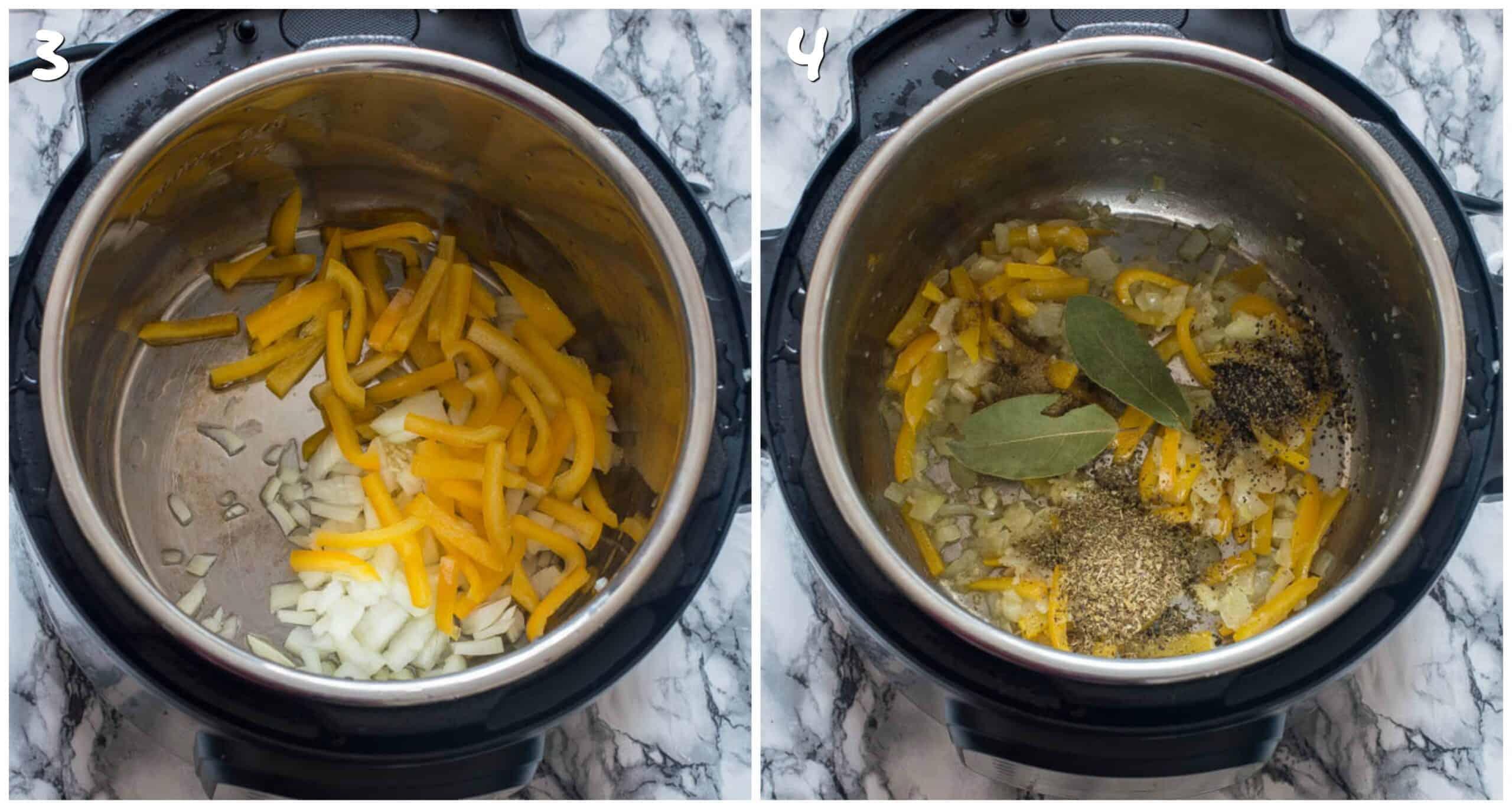 steps 3-4 sauteing vegetables and seasoning