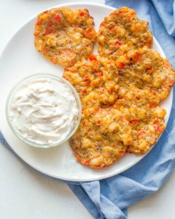 fritters with dipping sauce