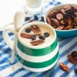 Porridge with nuts and raisins
