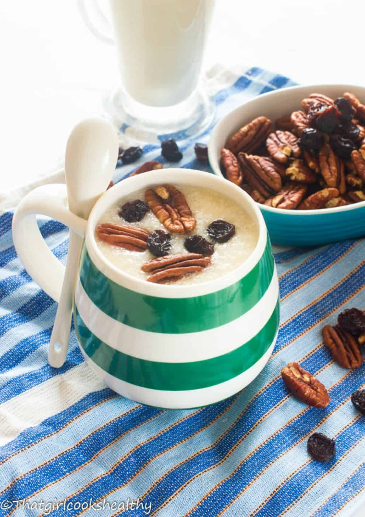 Porridge in stripped cup