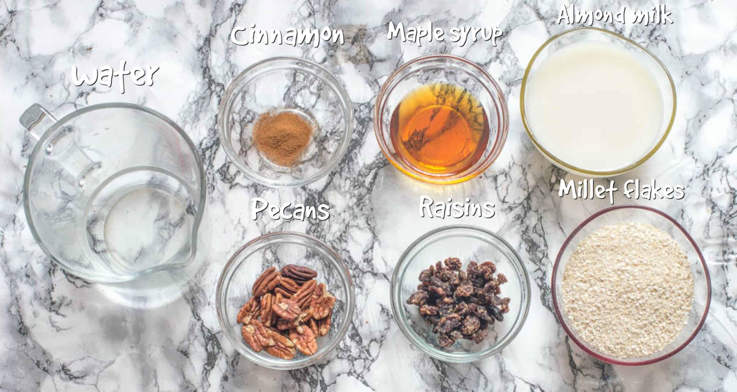 ingredients for millet porridge