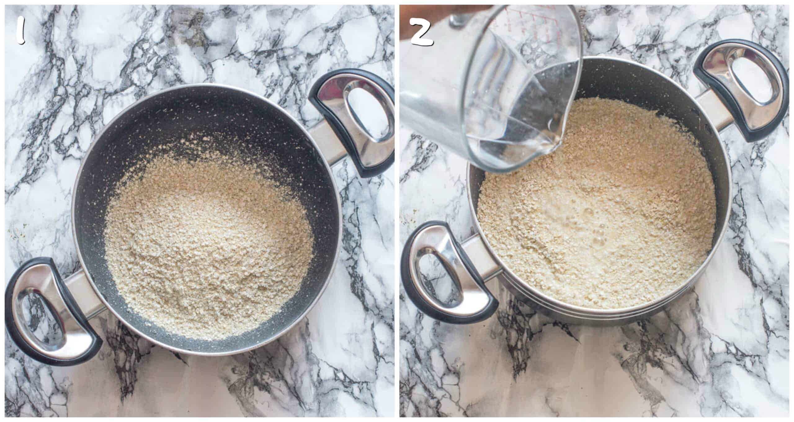 steps 1-2 adding millet and liquid to the saucepan