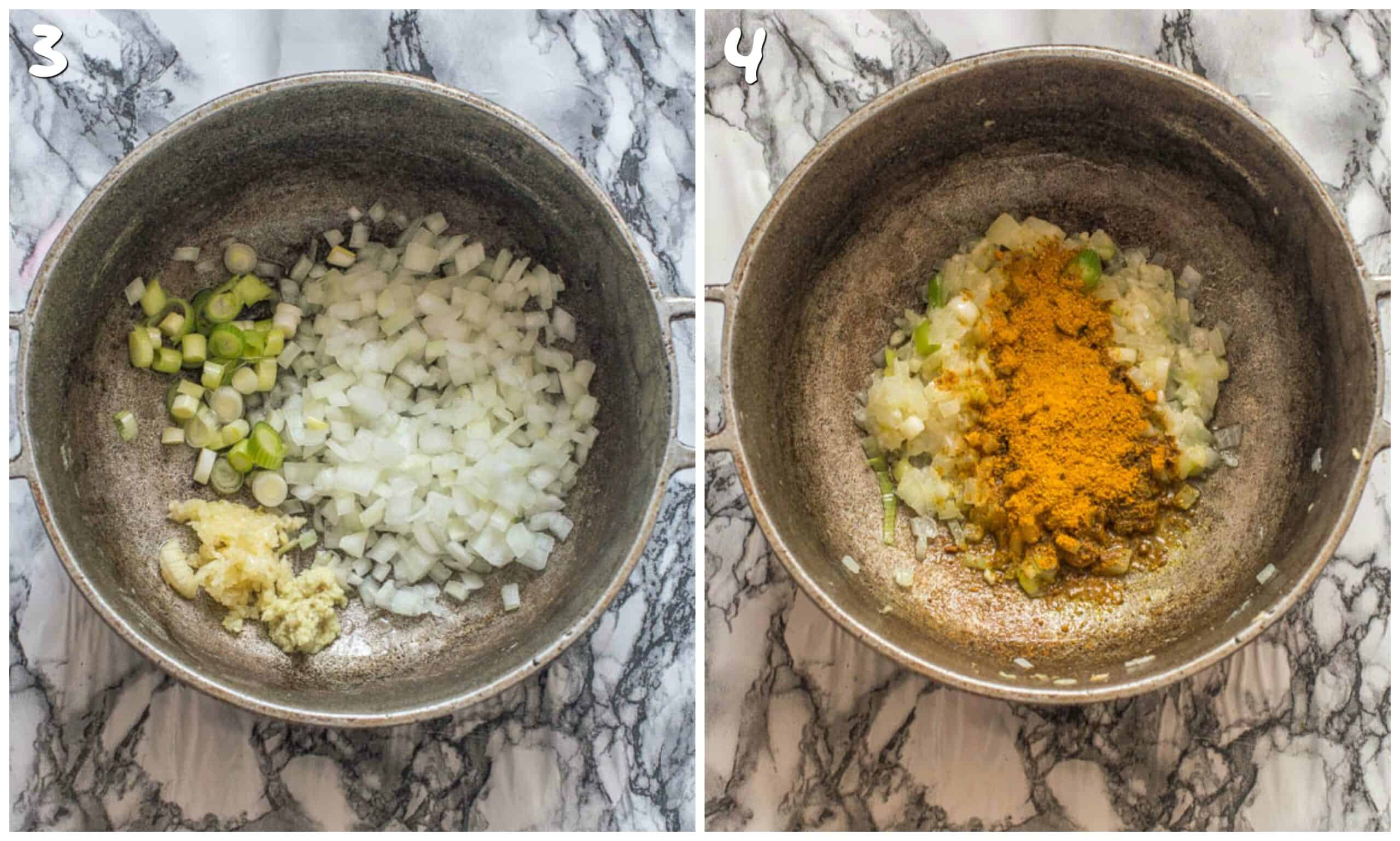 steps 3-4 sauteing onions and curry powder