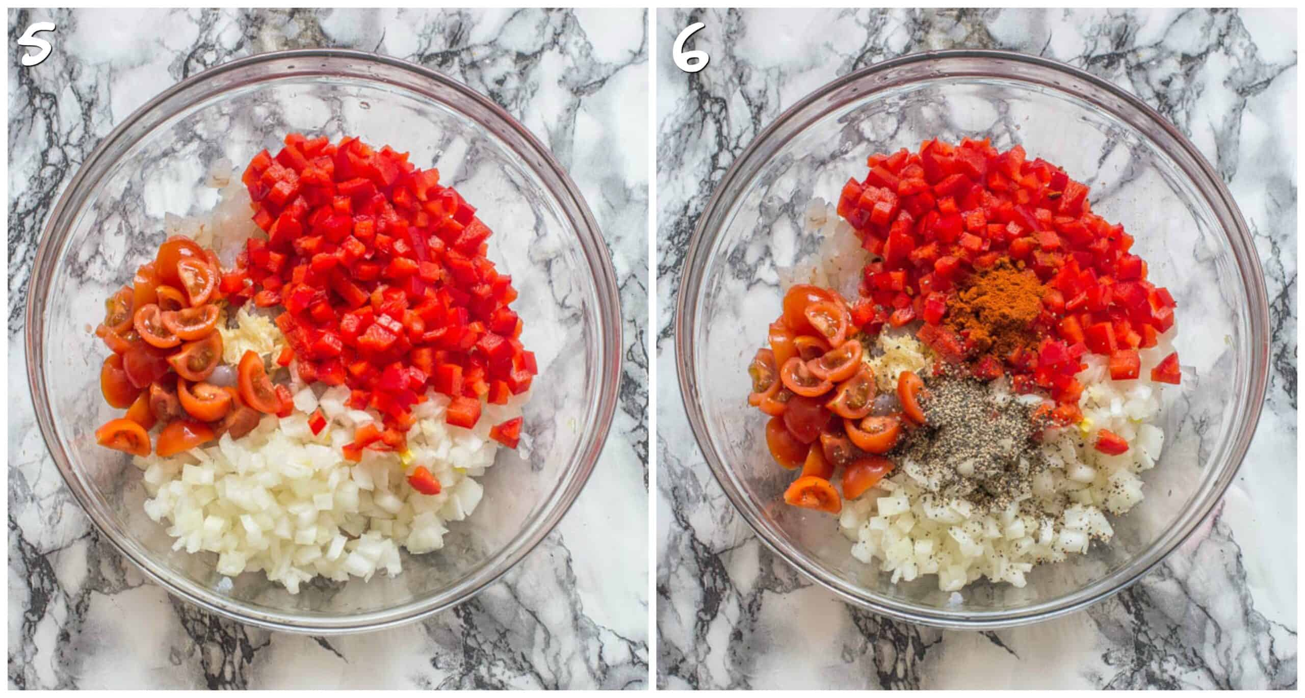 steps 5-6 adding tomatoes and spices
