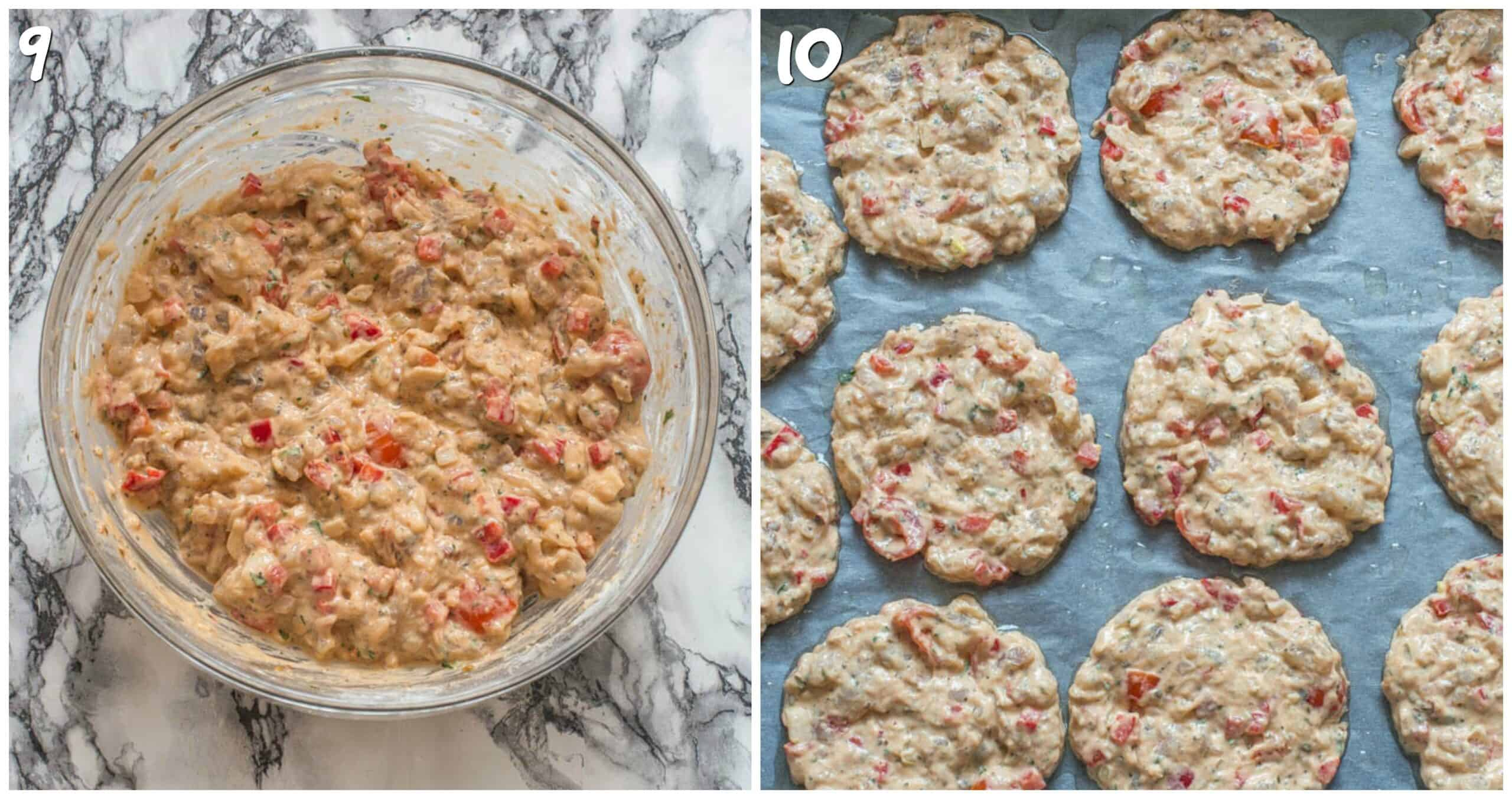 steps 9-10 mixing shrimp batter and to the baking tray