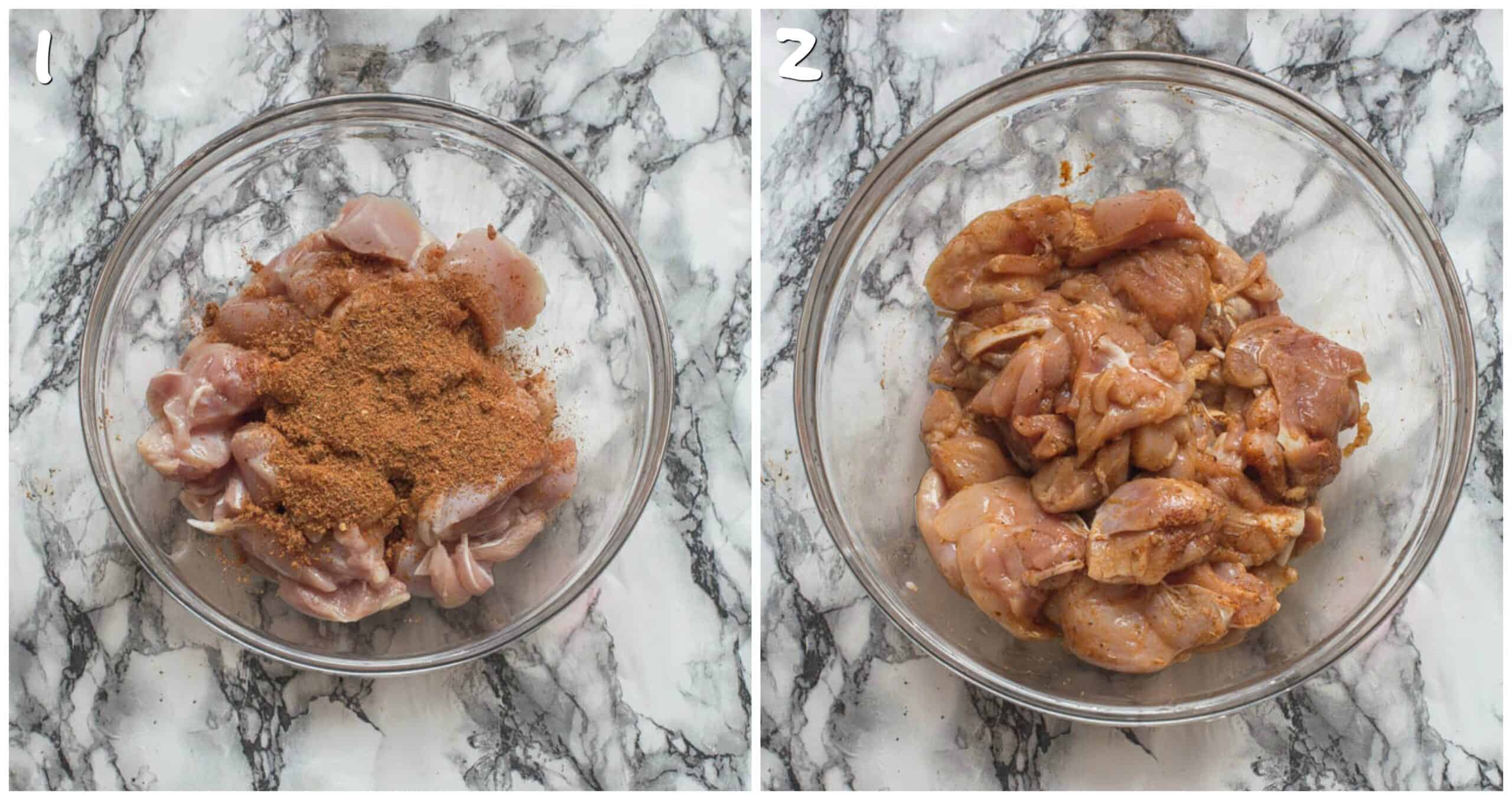 Steps 1-2 marinating the meat