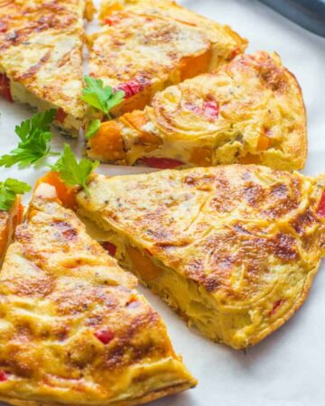 close up of the omelette