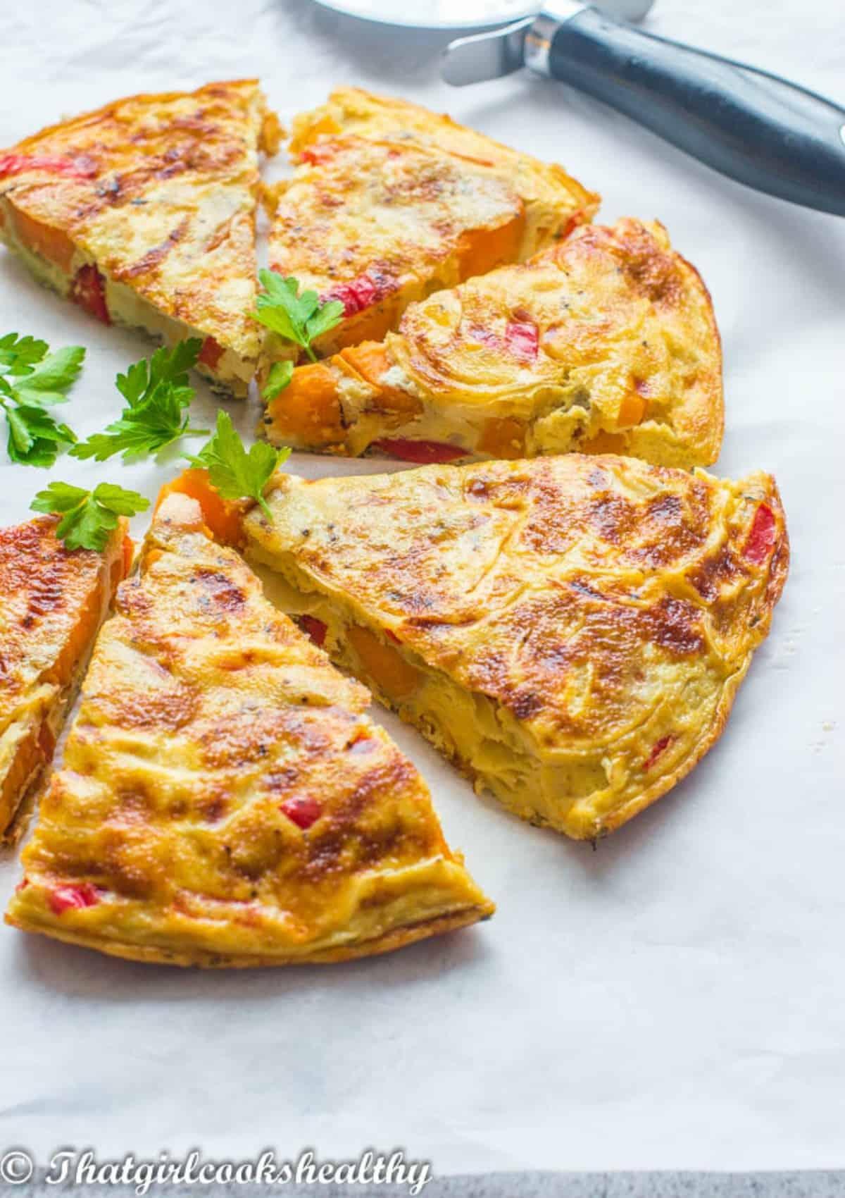 angled shot of the omelette