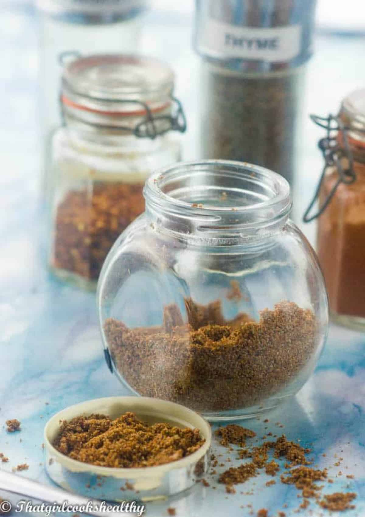seasoning in a glass jar