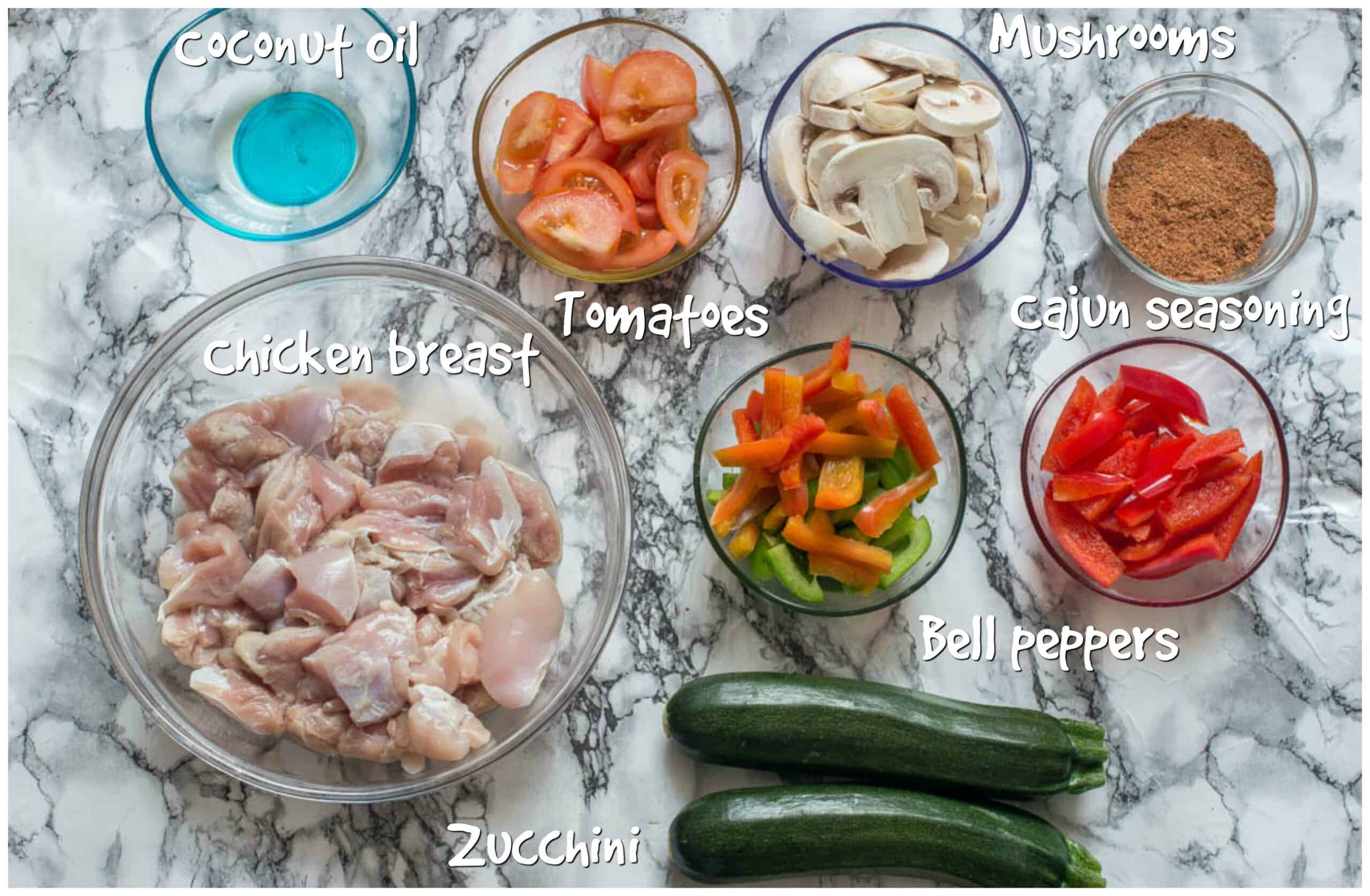 ingredients for cajun chicken zoodles recipe