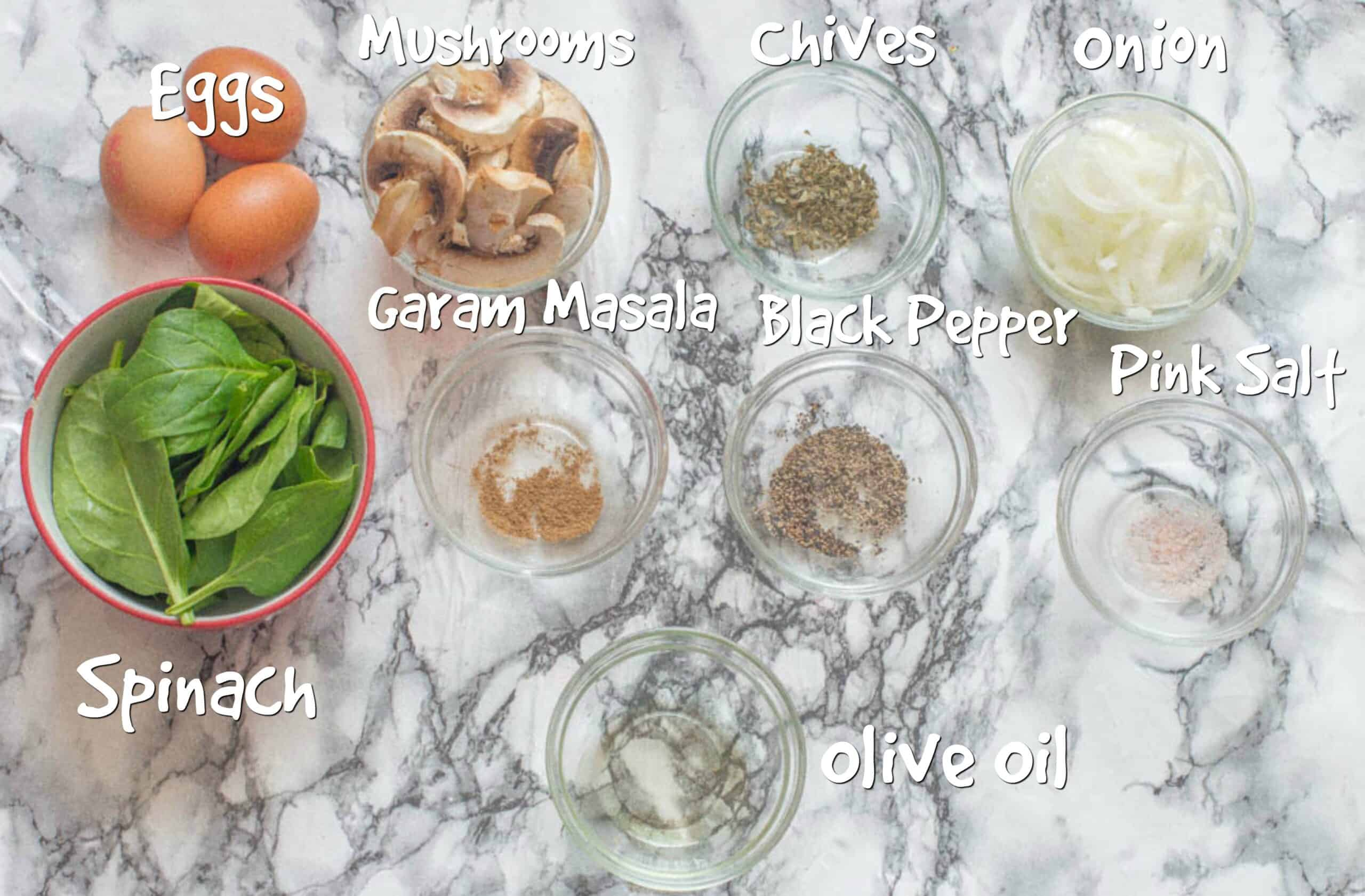 ingredients for omelette