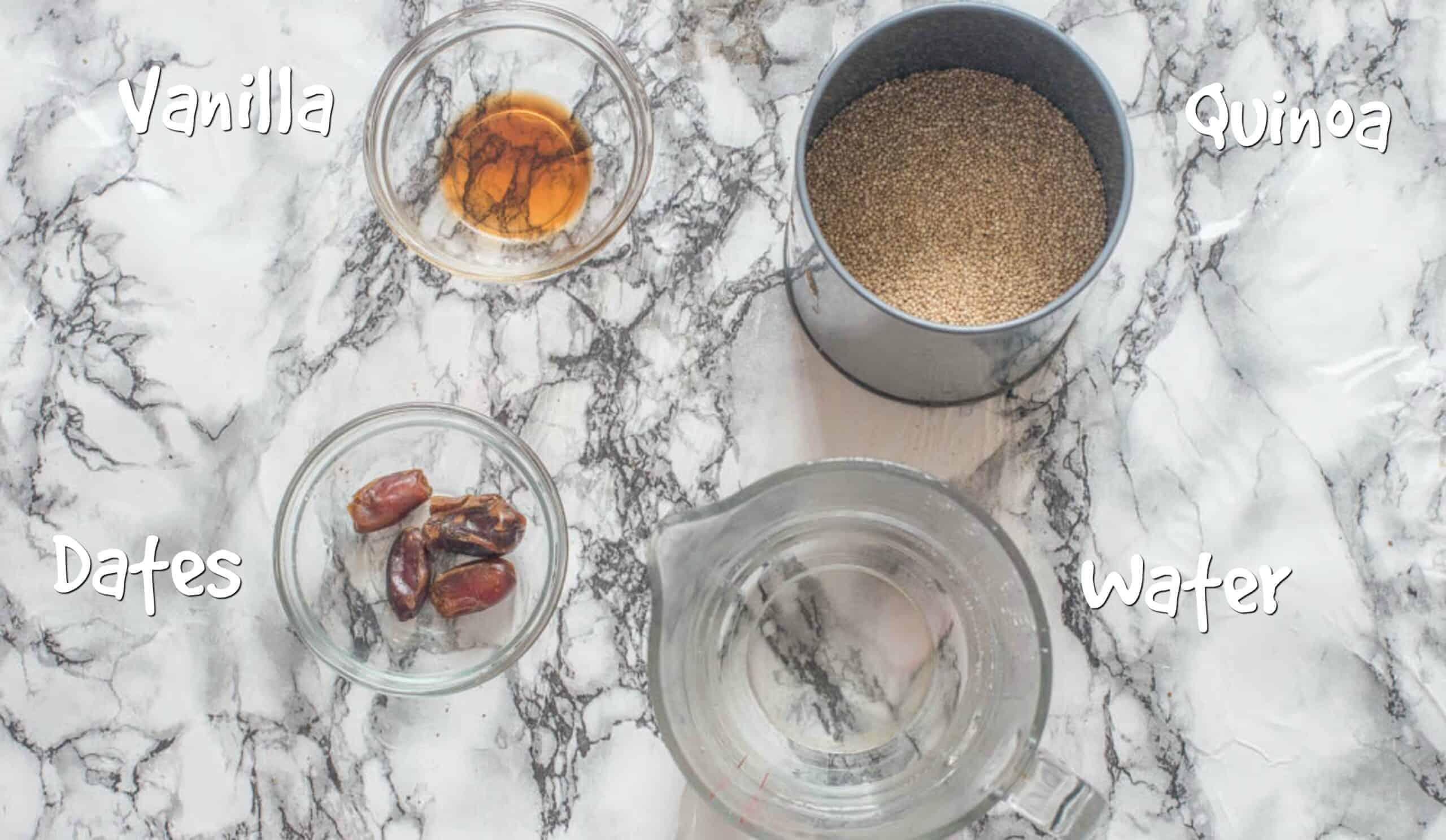 ingredients for quinoa milk