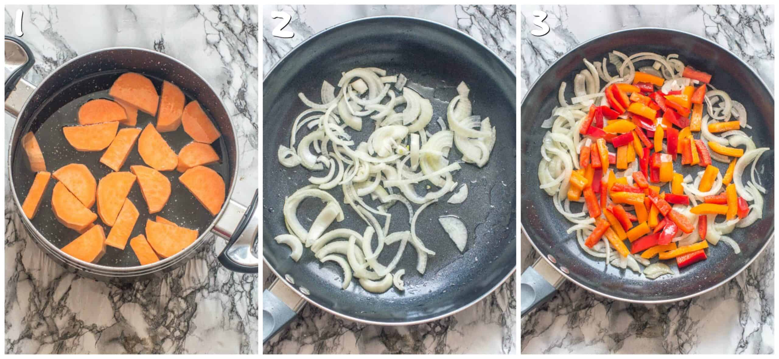 steps 1-3 boiling sweet potatoe and sauteing onions and peppers