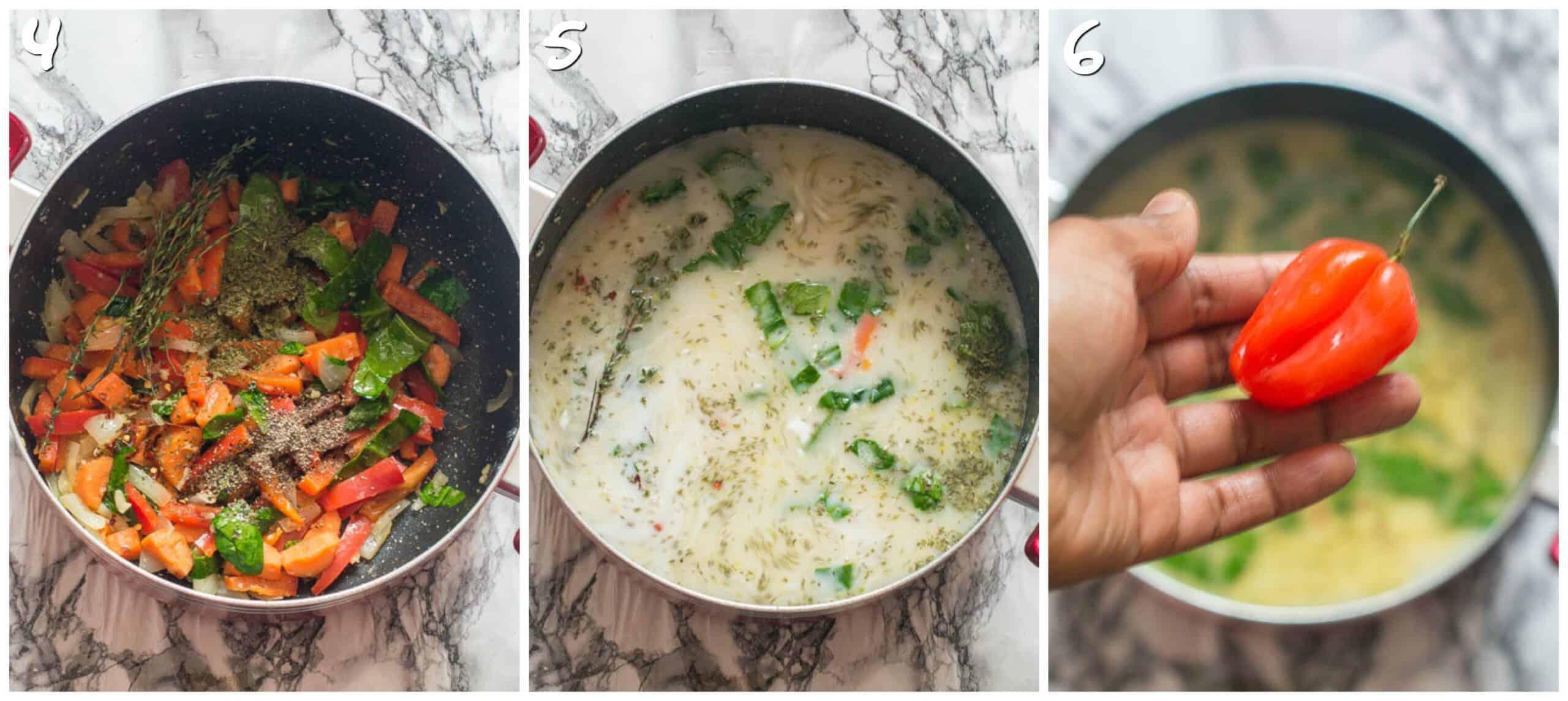 steps 3-6 vegetables and milk added