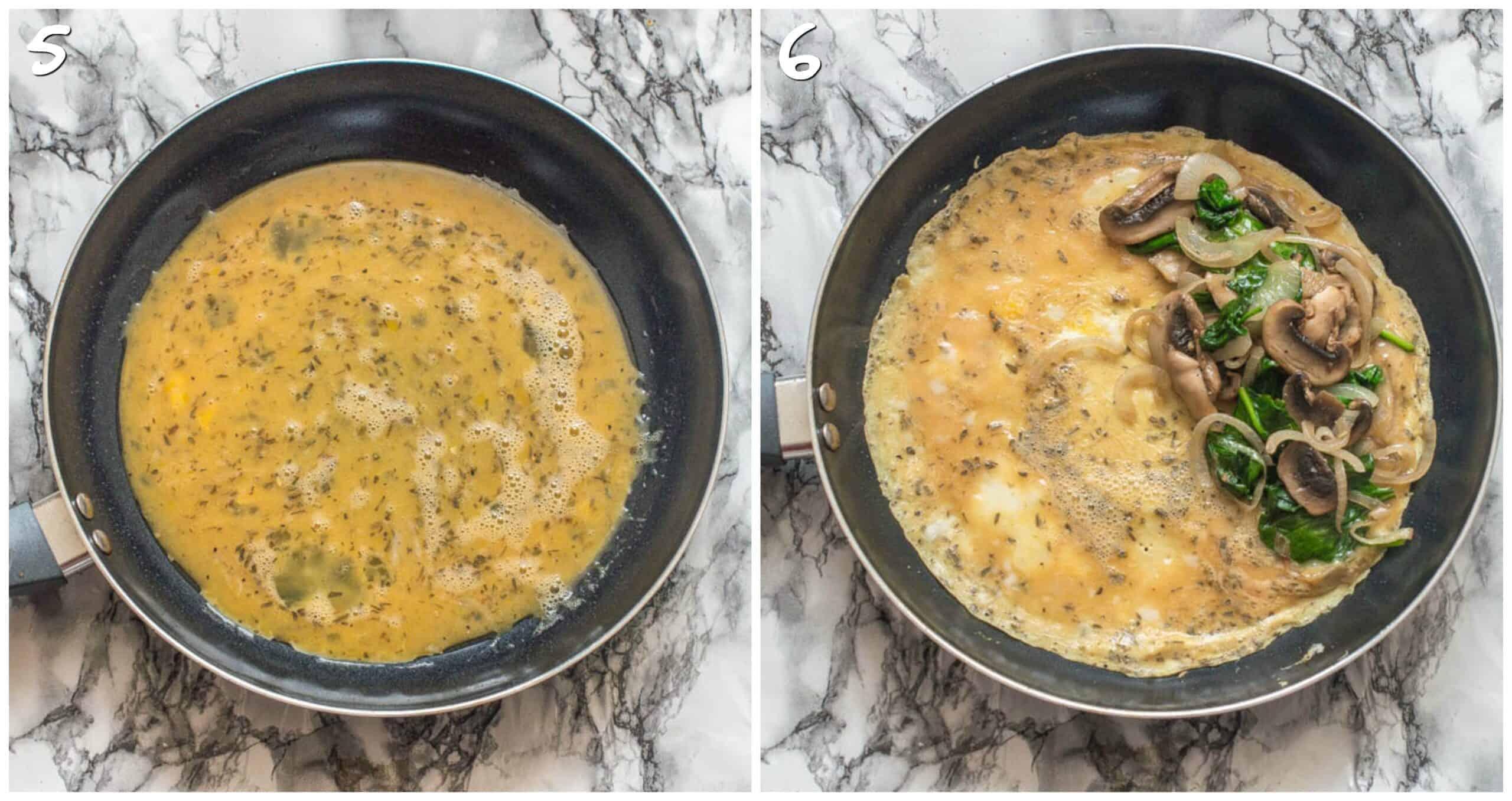 steps 5-6 setting the omelette