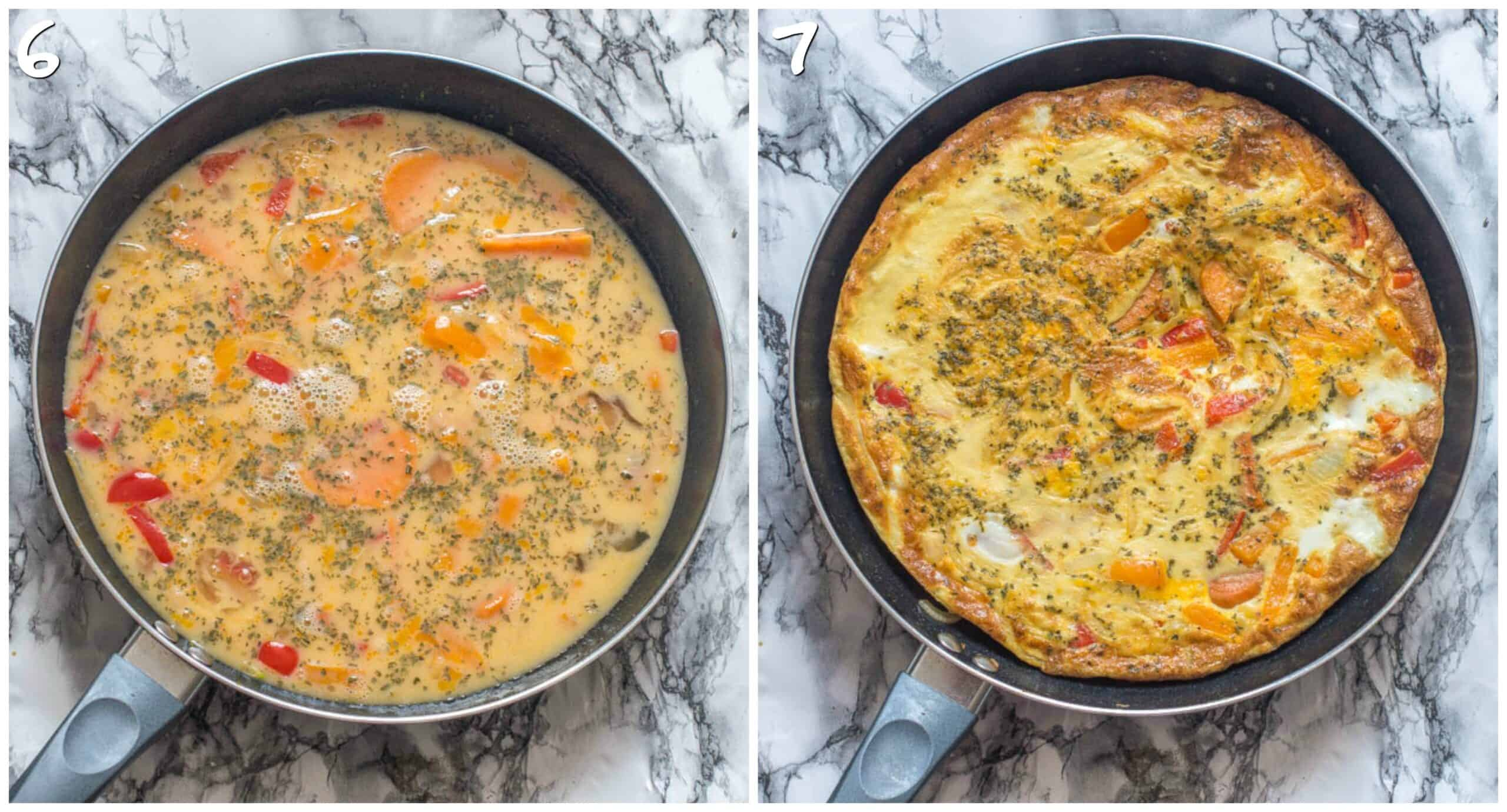 steps 6-7 setting the omelette in the pan