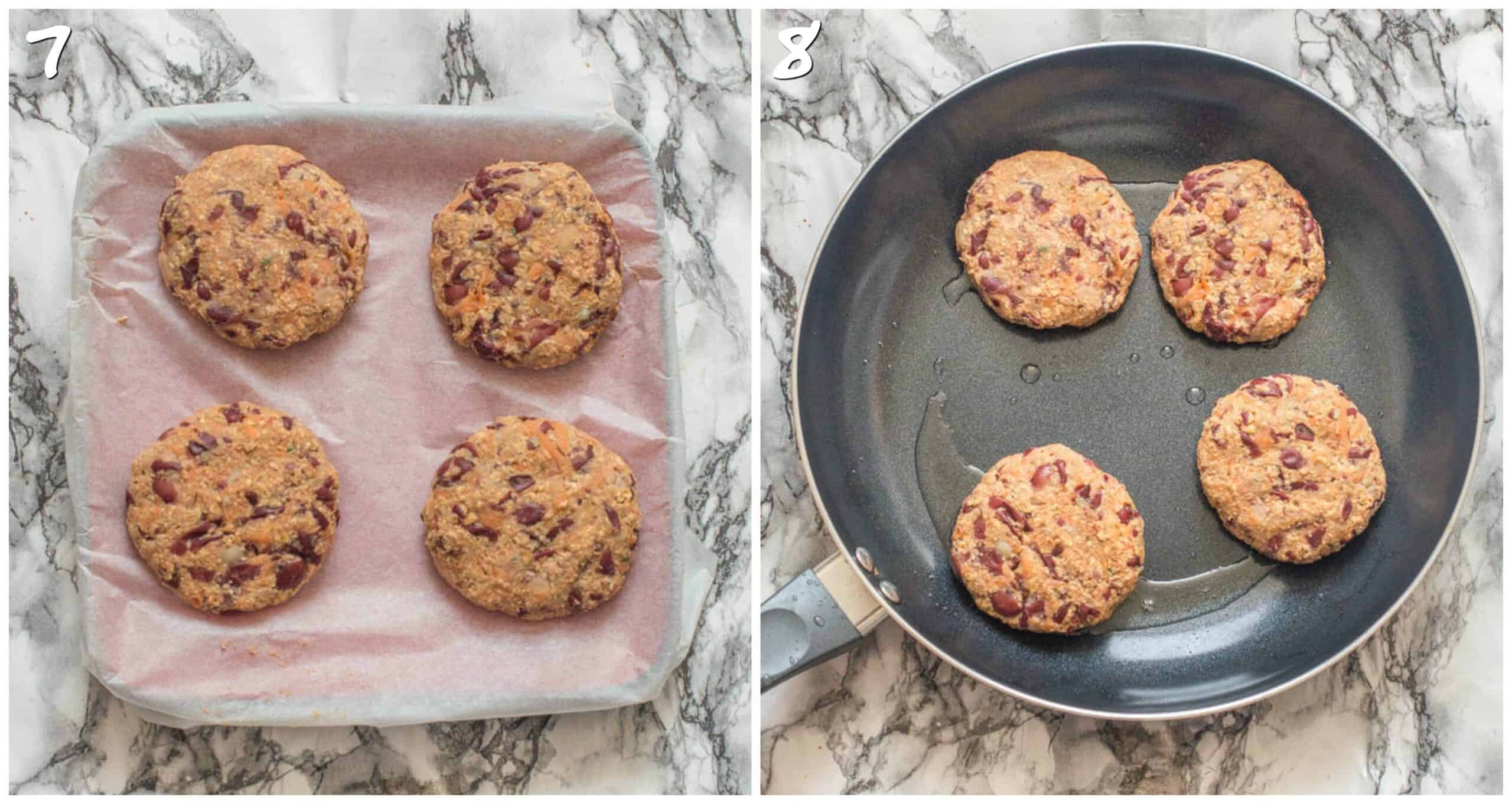 steps 7-8 making the patties and frying them